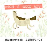 cute galloping horse on white... | Shutterstock .eps vector #615593405