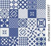 big vector set of tiles... | Shutterstock .eps vector #615593597