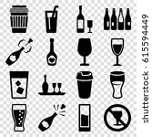 alcohol icons set. set of 16... | Shutterstock .eps vector #615594449