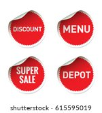 set red vector sticker and text ... | Shutterstock .eps vector #615595019
