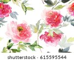 Stock photo horizontal seamless pattern with peonies on a white background watercolor flowers are large 615595544
