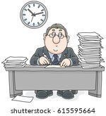 clerk with documents   Shutterstock .eps vector #615595664
