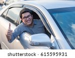 young asian man doing thumb up... | Shutterstock . vector #615595931