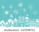 social network icons with city... | Shutterstock .eps vector #615598721