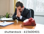 desperate businessman waiting... | Shutterstock . vector #615600401