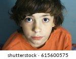 teen boy close up portrait with ... | Shutterstock . vector #615600575