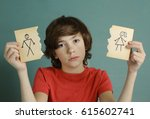 teenager boy hold mom and dad... | Shutterstock . vector #615602741