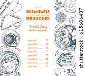 breakfasts and brunches top... | Shutterstock .eps vector #615606437