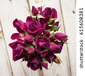 Bouquet Of Magenta Roses On A...