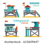 Vector Set Of Cartoon Lifeguar...