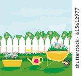 planting flowers in the garden | Shutterstock . vector #615612977