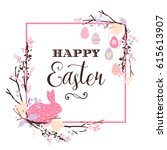 happy easter. vector design for ... | Shutterstock .eps vector #615613907