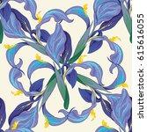 vector iris flowers. seamless... | Shutterstock .eps vector #615616055