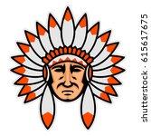indian head mascot | Shutterstock .eps vector #615617675