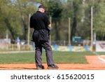 plate umpire on baseball field  ...   Shutterstock . vector #615620015