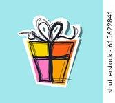 gift box retro vector... | Shutterstock .eps vector #615622841