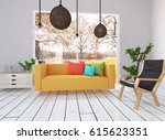 white interior design of a... | Shutterstock . vector #615623351