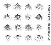 big set of black roots. vector... | Shutterstock .eps vector #615623531