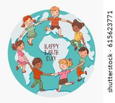 happy kids holding hands and... | Shutterstock .eps vector #615623771