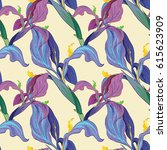 Vector Iris Flowers. Seamless...