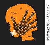 child domestic violence. little ... | Shutterstock .eps vector #615624197