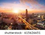 bangkok transportation at dusk  ... | Shutterstock . vector #615626651