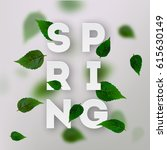 spring letter with leaves.  | Shutterstock .eps vector #615630149