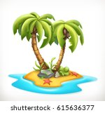tropical island  3d vector icon | Shutterstock .eps vector #615636377