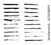 set of hand drawn grunge brush... | Shutterstock .eps vector #615638891