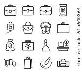 bag icons set. set of 16 bag... | Shutterstock .eps vector #615640364