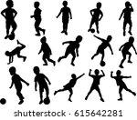 boy silhouette active raster... | Shutterstock . vector #615642281