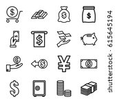 wealth icons set. set of 16... | Shutterstock .eps vector #615645194