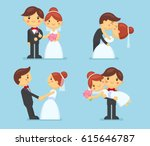 wedding couple collection.... | Shutterstock .eps vector #615646787