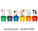 many garbage cans with sorted... | Shutterstock .eps vector #615647204