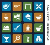 restaurant icons set. set of 16 ... | Shutterstock .eps vector #615647999