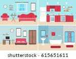 set of vector interiors with... | Shutterstock .eps vector #615651611