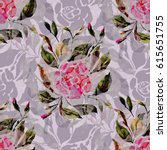 seamless pattern. watercolor... | Shutterstock . vector #615651755