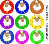 cute lambs dancing raster... | Shutterstock . vector #615654959