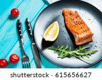 One Piece Of Baked Salmon With...