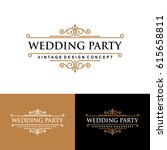 vintage label wedding... | Shutterstock .eps vector #615658811