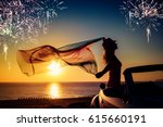 silhouette of young woman... | Shutterstock . vector #615660191