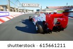 race car. very fast driving. 3d ... | Shutterstock . vector #615661211