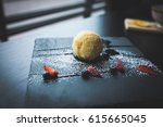 grilled ice cream in coconut... | Shutterstock . vector #615665045