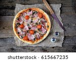 homemade pizza with smoked meat ... | Shutterstock . vector #615667235