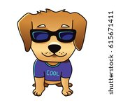 Stock vector cute vector cool dog labrador puppy isolated on white golden retriever in sunglasses 615671411