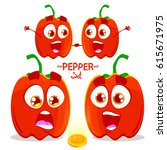 vector character set of pepper. ... | Shutterstock .eps vector #615671975