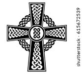 celtic style cross with... | Shutterstock .eps vector #615672539