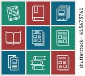 publication icons set. set of 9 ... | Shutterstock .eps vector #615675761