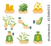money in hand. various kind of... | Shutterstock .eps vector #615684515