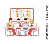 young team working together on... | Shutterstock .eps vector #615685904